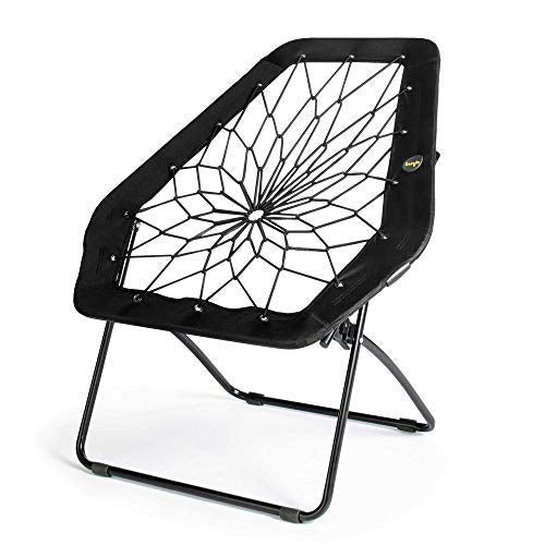 Bunjo Chair Bungee Hexagon Chair, Black - Great for College, Teens, Kids