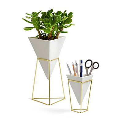Umbra Trigg Desktop Planter Vase & Geometric Container-for Succulent, Air, Mini Cactus, Faux Plants, White/Brass