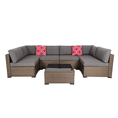 Kinsunny 7 Piece Outdoor Patio Furniture Set Wicker Sectional Sofa with 2 Pillows and Tea Table Patio Rattan Conversation Chair Sofa Set