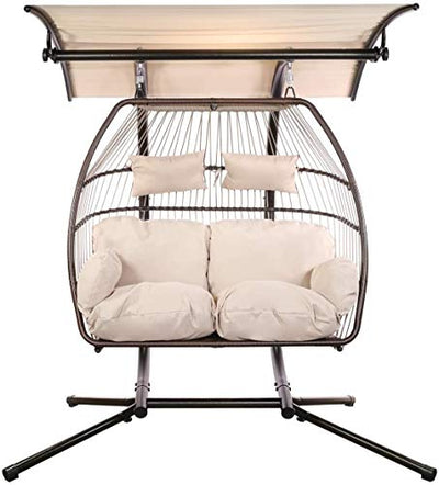 Luxury Adjustable 2 Person Wicker Hanging Egg Chair with Canopy