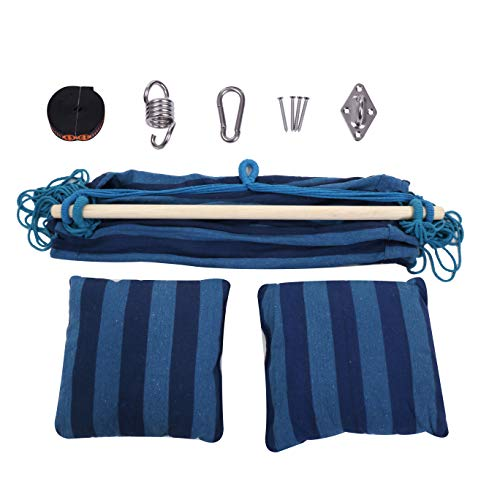 KLM Hanging Rope Hammock Chair Swing with Pillows and Hanging Kit