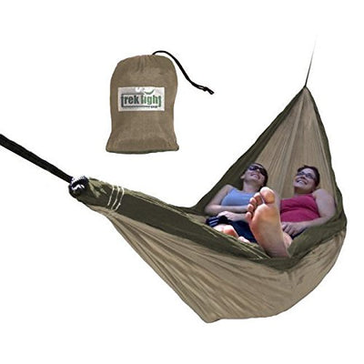 Trek Light Gear Double Hammock - The Original Brand of Best-Selling Lightweight Nylon Hammocks - Extra Wide for the Most Comfort - Use for All Camping, Hiking and Outdoor Adventures {Khaki/Green}