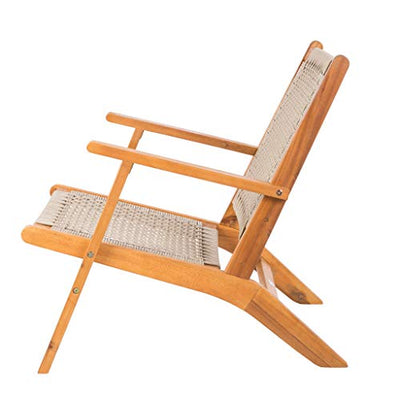 Patio Sense Vega Natural Stain Outdoor Chair | Acacia Wood Construction | Woven Web Seat | Mid Century Design | Comfortable Reclining Armchair for Porch, Patio, Lawn, Garden, Backyard, Pool, Deck