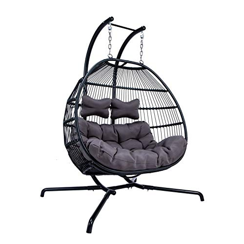 Awesome Leisuremod Modern Wicker Folding Double Hanging Egg Swing Chair In Charcoal Ocoug Best Dining Table And Chair Ideas Images Ocougorg