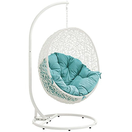 LexMod Outdoor Patio Swing Chair: White Turquoise