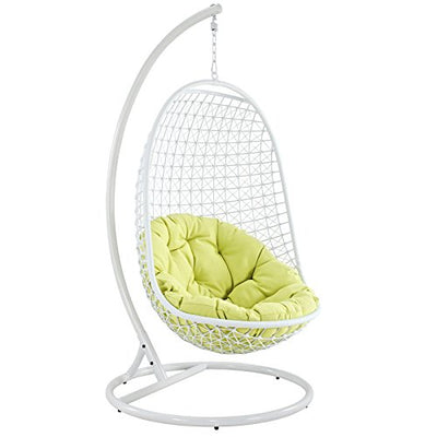 Modway Encounter Outdoor Patio Swing with Stand: White Frame, Green Cushion