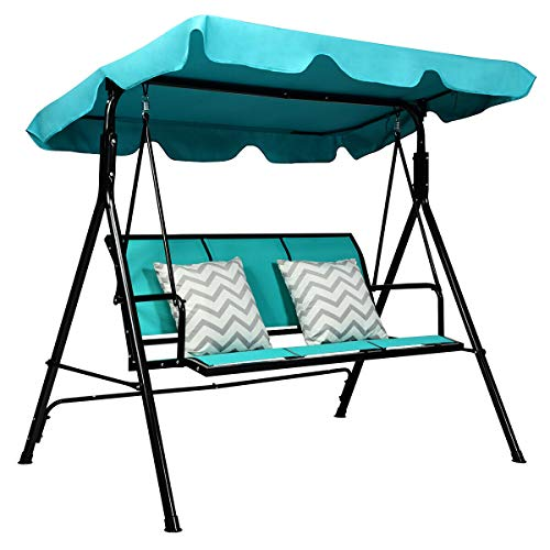 Blue 3 Persons Outdoor Canopy Swing