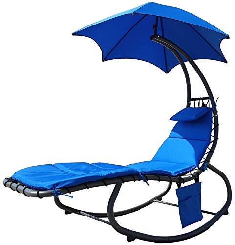 Hanging Rocking Curved Chaise Lounge Chair Swing with Cushion