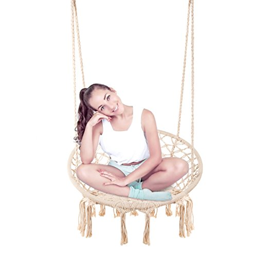 E EVERKING Hammock Chair Macrame Swing, Hanging Cotton Rope Macrame Hammock Swing Chair Indoor, Outdoor Home, Patio, Porch, Deck, Yard, Garden, Max Weight: 260 Pounds (Beige)