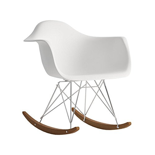 Modway Rocker Mid-Century Modern Molded Plastic Living Room Lounge Chair Rocker in White