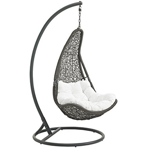 Modway Wicker Rattan Outdoor Swing Chair Set with Stand Gray White