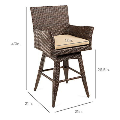 Best Choice Products Outdoor Patio Furniture All-Weather Brown PE Wicker Counter-Height Swivel Bar Stool w/Cushion