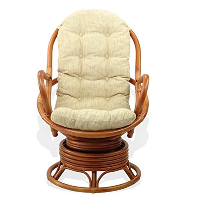 Java Lounge Swivel Rocking Chair with Cream Cushion Natural Rattan Wicker Handmade, Colonial