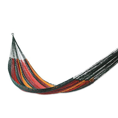 NOVICA Sustainable Cotton Red Rope Hammock 'Red Wine Sunset' (Double)