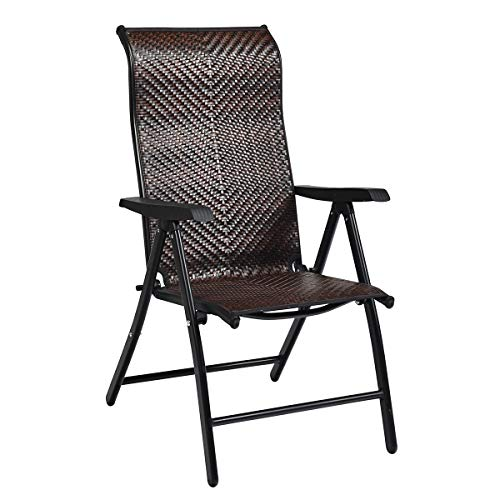 Tangkula Patio Rattan Folding Chair