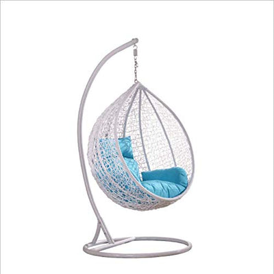 Island Gale Hanging Basket Chair Outdoor Front Porch Furniture with Stand and Cushion (White/Blue)