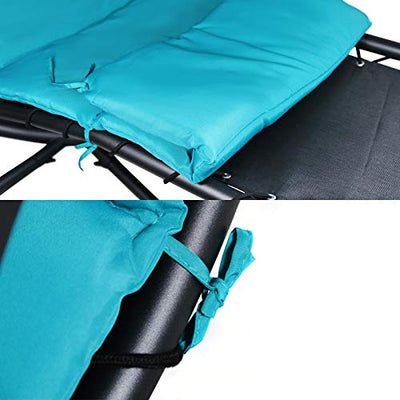 Hanging Chaise Lounger Chair Arc Stand Porch Swing Hammock Chair W/Canopy