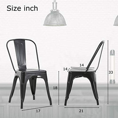 Metal Dining Chairs Set of 4 Indoor Outdoor Chairs