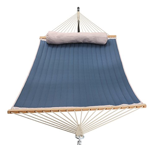 Patio Watcher 11 Feet Quilted Fabric Hammock with Pillow,Dark Blue