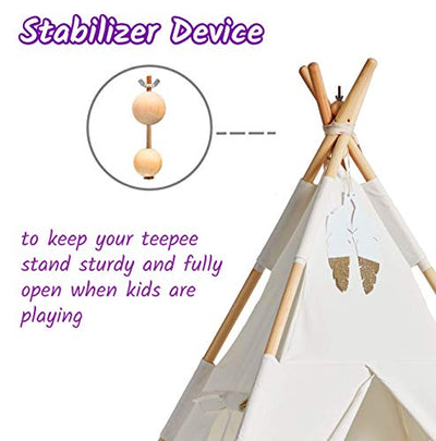 Teepee Tent for Kids with Lights - Pure Cotton Kids Tepee Tents Indoor for Boys and Girls, Baby and Toddler - Great for Outdoor Play Tee Pee for Children - Sturdy and Comfort Tipi Play-House