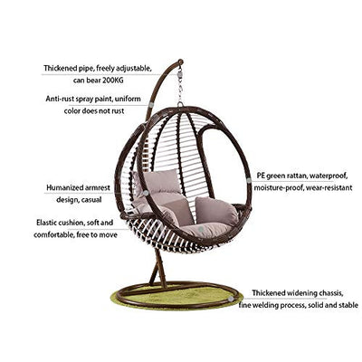 Single Hanging Rattan Egg Chair Swing Chair with Stand and Cushion