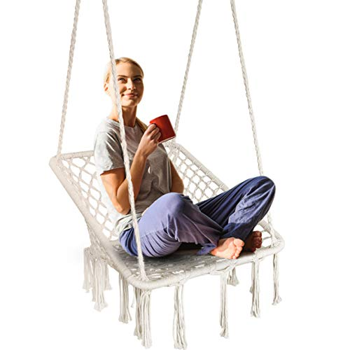 Ergonomic Hammock Chair Macrame Swing Bohemian Design