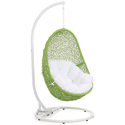 Zuri Furniture Modern Reef Swing Chair - Lime Green Basket with White Cushion