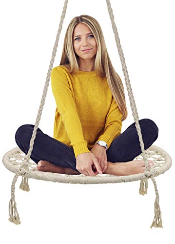 Sorbus Hammock Chair Macrame Swing:  Cream