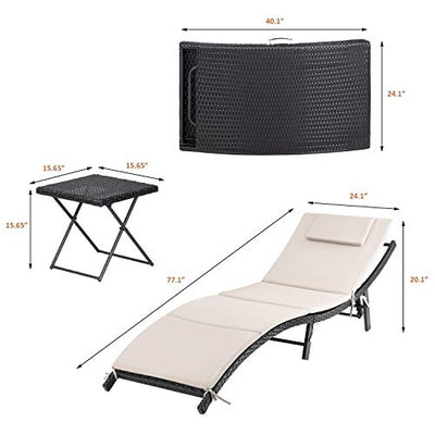 GUNJI Patio Chaise Lounge Sets Adjustable Oudoor Lounge Chair