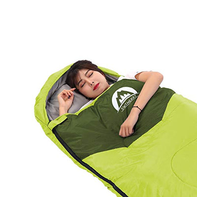 Sleeping Bag 3 Season Warm & Cool Weather - Summer, Spring, Fall, Lightweight,Waterproof Indoor & Outdoor Use for Kids, Teens & Adults for Hiking,Backpacking and Camping (Green, Single)