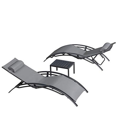 Patio Lounge Chair Sunbathing Chair with Headrest and Table for All Weather