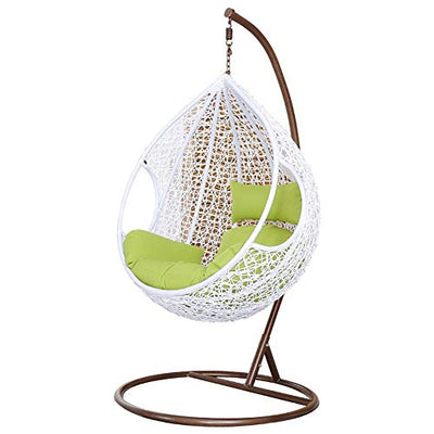 Rattan Hanging Swing Chair: White