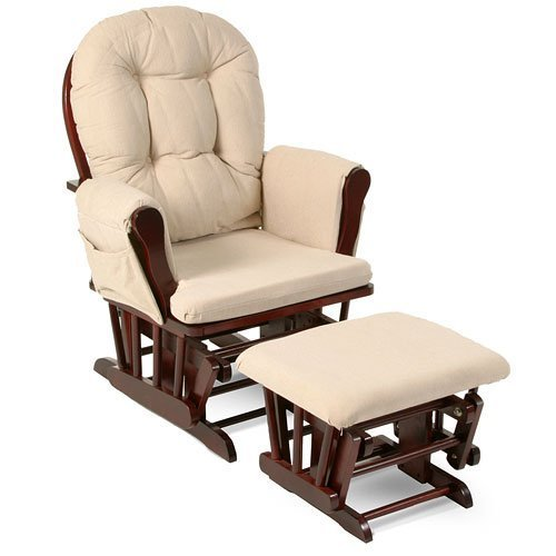 Beige Bowback Nursery Baby Glider Rocker Chair with Ottoman