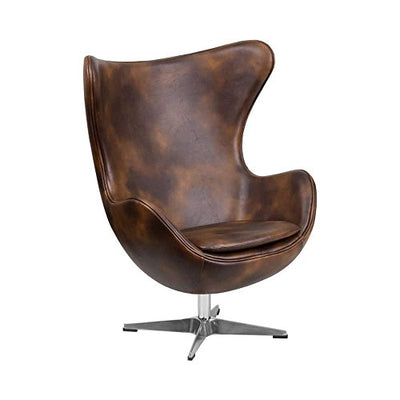 Leather Egg Chair with Tilt-Lock Mechanism