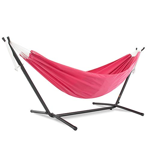 Vivere Double Polyester Hammock with Space Saving Steel Stand: Hot Pink