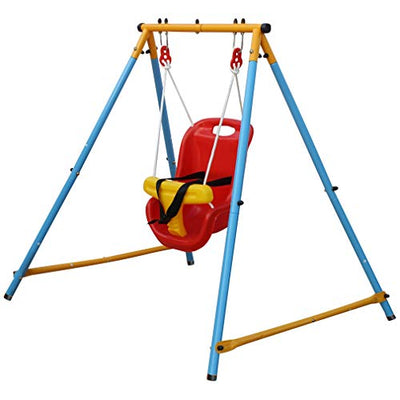 KLB Sport Baby Toddler Indoor/Outdoor Metal Swing Set (Blue, Red, Yellow)