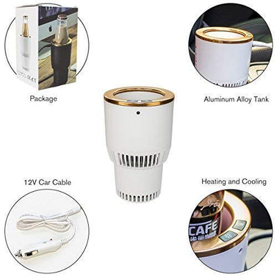 Car Cup Cooler Warmer Smart Car Cup Mug Holder | White and Gold