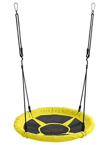 "Swingan - 37.5"" Super Fun Nest Swing with Adjustable Ropes - Solid Fabric Seat Design - Yellow"