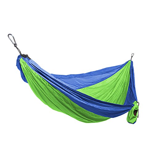 Single Parachute Nylon Hammock + Carabiners & Hanging Ropes [15 Color Combinations]