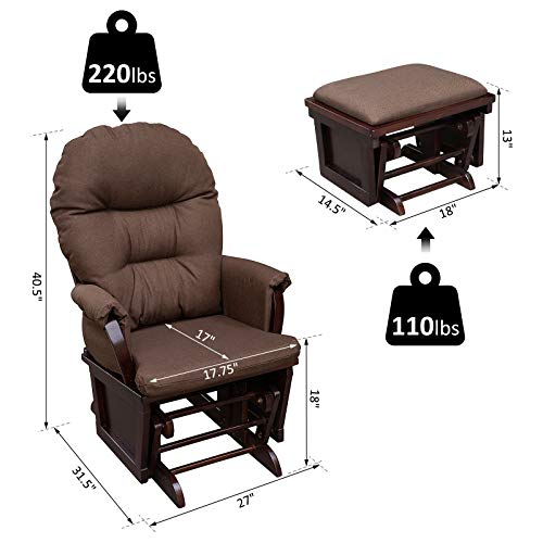 HOMCOM Nursery Glider Rocking Chair with Ottoman Set - Dark Coffee