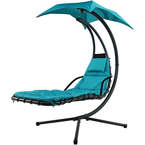 Floating Chaise Lounger Swing Chair With Canopy Umbrella