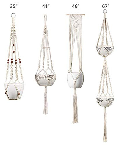 Mkono Macrame Plant Hangers Set of 4 Indoor Wall Hanging Planter Basket Flower Pot Holder Boho Home Decor Gift Box