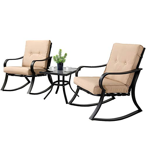 3-Piece Outdoor Rocking Chairs Bistro Set