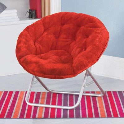 Mainstay Adult Faux Fur Saucer Chair (1, Red Engine)