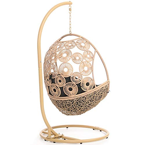 Zuri Furniture Modern Bay Tan Basket Swing Chair Black Cushion with Stand