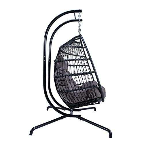 Astounding Leisuremod Modern Wicker Folding Double Hanging Egg Swing Chair In Charcoal Theyellowbook Wood Chair Design Ideas Theyellowbookinfo