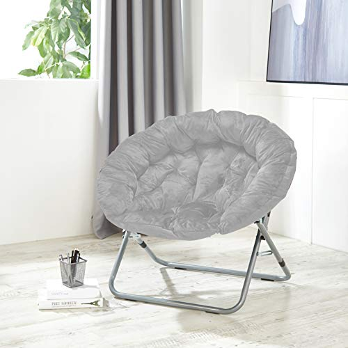Urban Shop Oversized Micromink Moon Chair, Grey