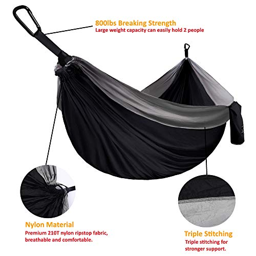 Gold Armour Camping Hammock - Extra Large (Black/Gray)