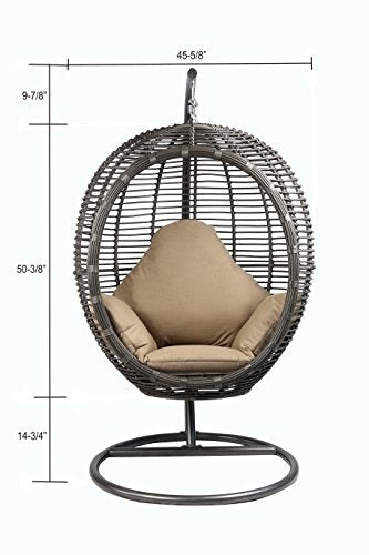 Oval Egg Hanging Patio Lounge Chair & Porch Swing
