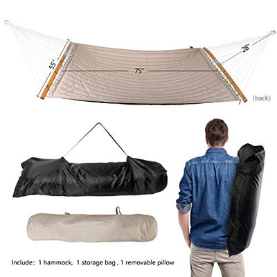 STB Double Hammock w/Foldable Bar & Detachable Pillow, Durable & Easy to Maintain Fabric, w/Convenient Carrying Bag, Curved Bar Design Ensures Comfort and Safety, 2019 All New Trinidad Red